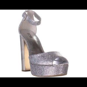 MK Paloma Platform Sandals in Silver Glitter